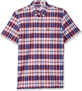 Lacoste Men's Short Sleeve Oxford Check Button Down Collar Reg Fit Woven Shirt
