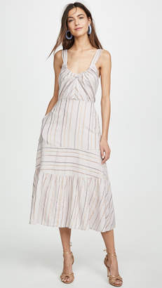Rebecca Taylor Sleeveless Metallic Stripe Dress