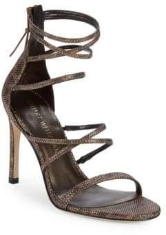 Stuart Weitzman Pinot Snakeskin Embossed Strappy Stiletto Sandals