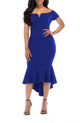 KISSMODA Women's Off Shoulder High Low Hem Dress Evening Party Gown Red