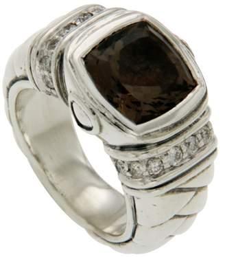 Scott Kay 925 Sterling Silver Diamonds & Smoke Topaz Ring Size 6.5