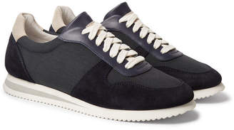 Brunello Cucinelli Nubuck and Leather-Trimmed Canvas Sneakers - Men - Navy