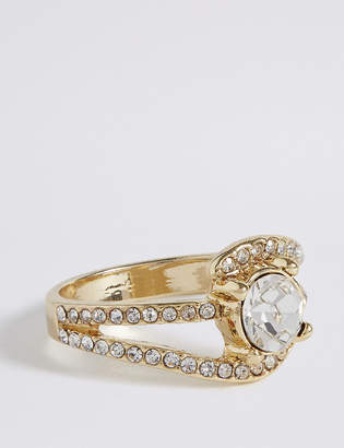 M&S Collection Gold Plated Diamanté Curved Pave Ring