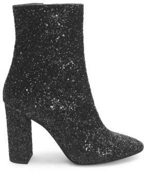 Saint Laurent Lou Glitter Zip-Up Ankle Boots