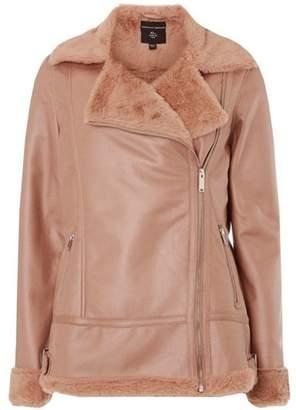 Dorothy Perkins Womens Pink Faux Shearling Biker Jacket