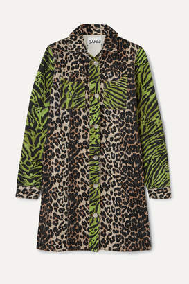 Ganni Paneled Animal-print Denim Mini Dress - Leopard print