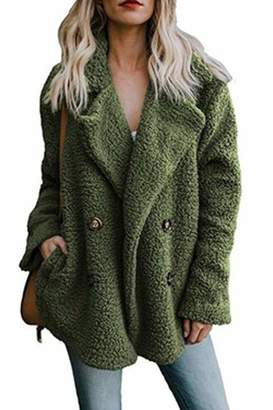 Zamtapary Women Faux Fur Coats Winter Casual Warm Button Outwear Jackets XL