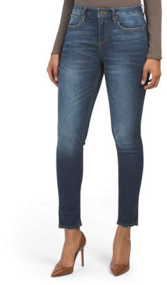 High Rise Side Slit Skinny Jeans