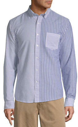 ST. JOHN'S BAY Mens Long Sleeve Striped Button-Front Shirt