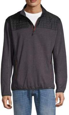 Hawke & Co Quilted Mixed Media Quarter Zip Sweater