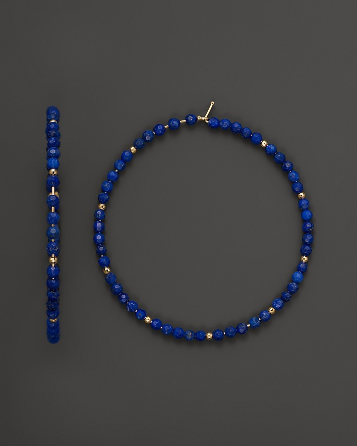 Mizuki 14K Yellow Gold Extra Large Hoop Earrings with Faceted Gold and Lapis Beads