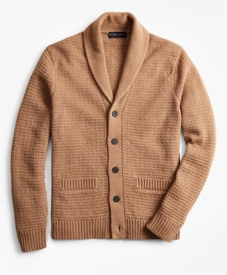 Brooks Brothers Camel Hair Shawl Collar Cardigan