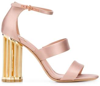 Salvatore Ferragamo satin flower heel sandals