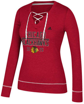 adidas Women Chicago Blackhawks Skate Lace Long Sleeve T-Shirt
