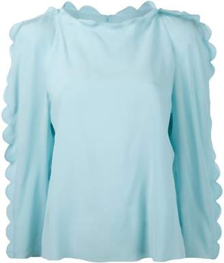 Fendi scallop trim blouse