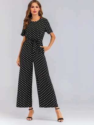 Shein Tie Waist Swiss Dot Wide Leg Jumpsuit