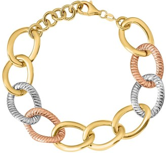 Italian Gold Tri-Color Oversize Curb Link Bracelet 14K, 9.1g