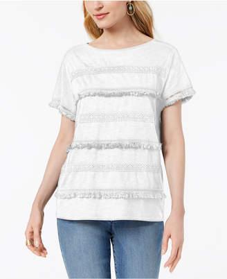 Style&Co. Style & Co Embellished Fringe-Trim T-Shirt, Created for Macy's