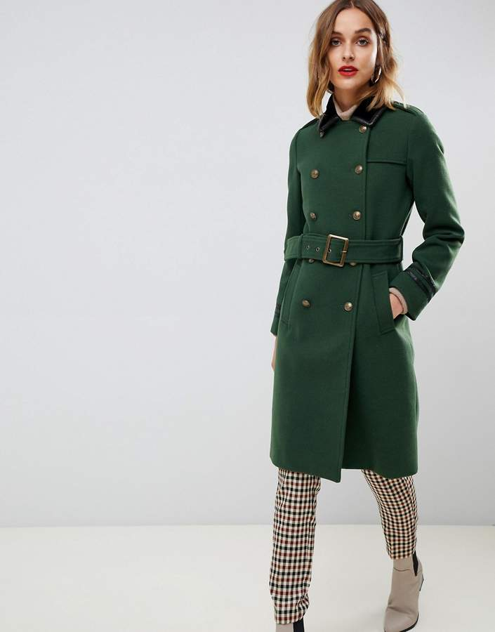 Gianni Feraud military coat with faux leather black trim