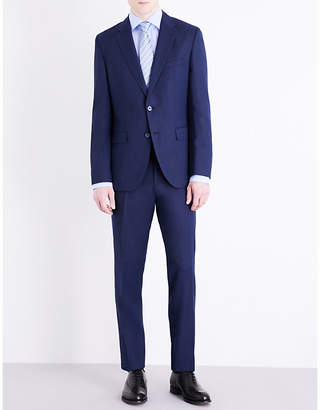 Textured regular-fit wool-blend suit