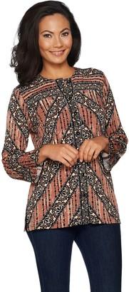 Bob Mackie Bob Mackie's Printed Lace Stripe Jersey Button Front Blouse