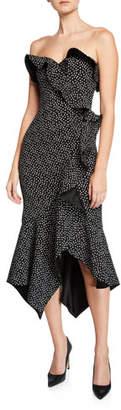 Jonathan Simkhai Speckle-Print Bustier Ruffle Dress
