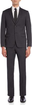 John Varvatos Two-Piece Grey & Black Wool Tic Weave Suit