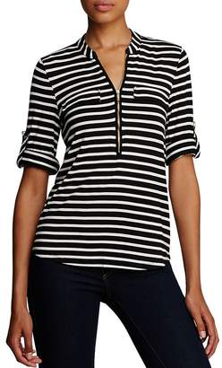 Calvin Klein Striped Zip Front Roll Sleeve Knit Blouse