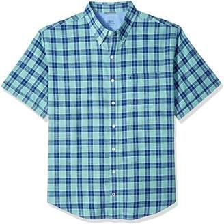 Izod Men's Dockside Chambray Plaid Short Sleeve Shirt (Big Slim Tall)