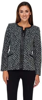 Bob Mackie Bob Mackie's Printed Fleece Jacket with Faux Leather Trim
