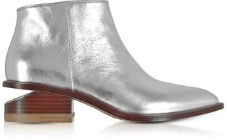 Alexander Wang Kori Silver Metallic Leather Booties w/Rhodium Heel