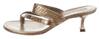 Manolo Blahnik Metallic Leather Thong Sandals