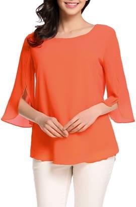 b7c2497c8551 Hount Women Casual Loose Pullover Chiffon Blouse 3 4 Sleeve Solid Chiffon  Shirt (XL