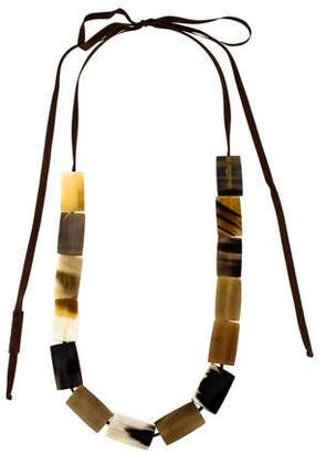 Marni Horn & Resin Link Ribbon Necklace