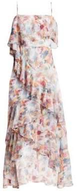 ML Monique Lhuillier Floral Chiffon Hi-Lo Dress