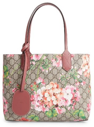 Gucci Small Gg Blooms Reversible Canvas & Leather Tote - Beige $980 thestylecure.com