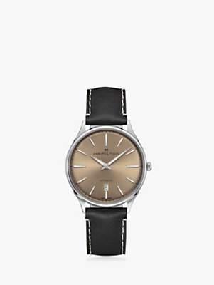 aa353ba9d78 Hamilton H38525721 Men's Jazzmaster Automatic Date Leather Strap Watch,  Black/Gold
