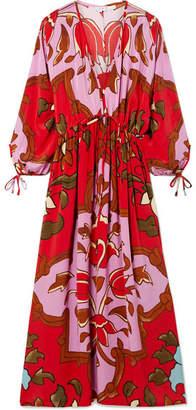 Rhode Resort - Bianca Printed Silk Crepe De Chine Maxi Dress - Red