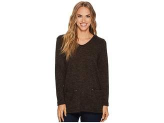 Tribal Long Sleeve Texture Knit Tunic w/ Pockets Women's Blouse