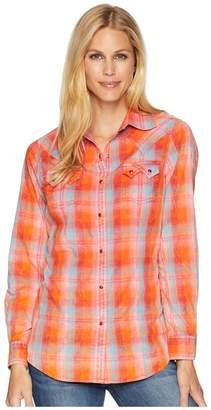 Wrangler Long Sleeve Woven Plaid Sawtooth Pocket Snap Women's Long Sleeve Button Up