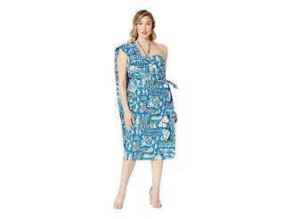 Unique Vintage Plus Size Alfred Shaheen Blue Tapa Tapestry Print Hawaiian Women's Dress
