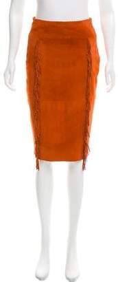 Tamara Mellon Fringe-Accented Suede Skirt