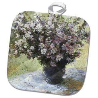 3dRose Flowers in a Vase vintage Monet - Pot Holder, 8 by 8-inch