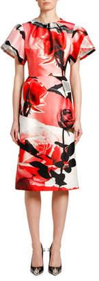 Alexander McQueen Short-Sleeve Torn Rose Wool-Silk Midi Dress