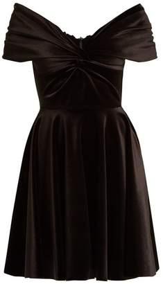 Emilio De La Morena Off The Shoulder Velvet Dress - Womens - Black