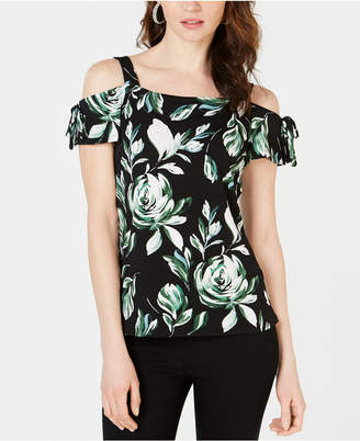 INC International Concepts I.N.C. Tie-Sleeve Cold-Shoulder Top, Created for Macy's