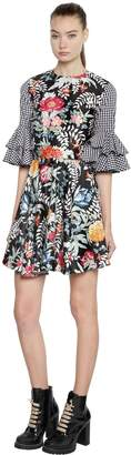 House of Holland FLORAL SATIN & GINGHAM MINI DRESS