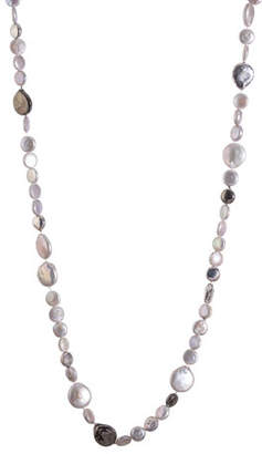 Michael Aram Molten Long Necklace w/ Gray Freshwater Pearls, 32""