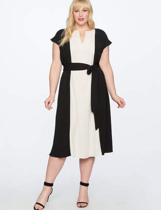 ELOQUII Colorblocked Fit and Flare Dress