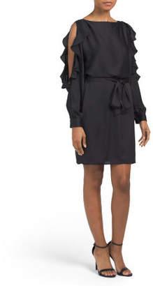 Belted Split Ruffle Sleeve Dress
